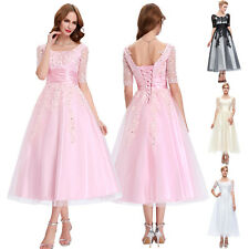 Vintage Lace Tea Length Evening Party Prom Bridesmaid Dress Wedding Guest Gowns
