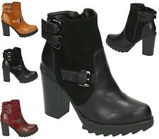 WOMENS LADIES CHUNKY PLATFORM ZIP BUCKLE ANKLE BOOTS GRIP SOLE HIGH HEEL SHOES