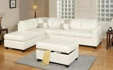 Leather Sectional Sofa 3 Piece White Couch Furniture Reversible Chaise Ottoman