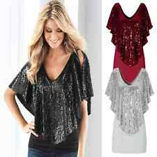 Fashion Batwing Blouse Womens Sexy Loose V-Neck Short Sleeve T-Shirts Tops
