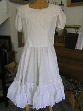 Custom Women's Square Dance DRESS White dotted Swiss Rockabilly  S NEW!