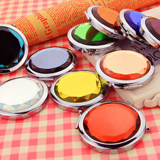 1Pc Mini Stainless Travel Compact Pocket Crystal Folding Makeup Mirror Cute FM