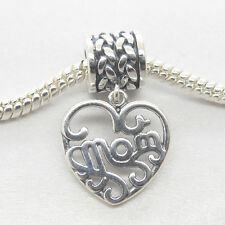 Genuine Authentic S925 Silver Dangle heart MOM charm for Mum gift bead