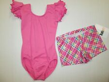 NEW Leotard Shorts Set Girls M L 8-10 12-14 Dance Gymnastics Jazz Lot Pink MC LC