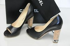New Chanel Black Leather CC Logo Silver Chain Peep Toe Cork Heel Pumps Shoes 37