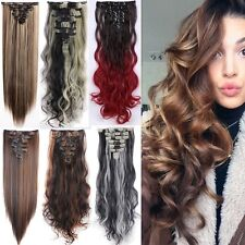 Deluxe 8 PIECES Clip In Hair Extensions Like Human Ombre Brown Blonde Hair tk6
