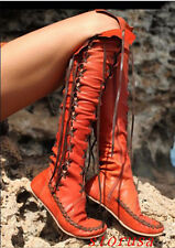 Women Lady Flat Heel Comfort Knee High Boots Shoes Lace Up Knight Leather Boots