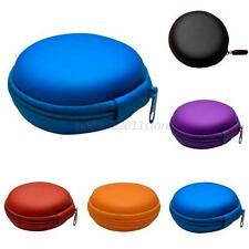 Carrying Small Round Hard Storage Case Zip Bag for Earphone Headphone TF Cards