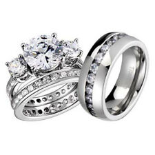 His and Hers Wedding Rings 3 pcs Engagement CZ Sterling Silver Titanium Set BL