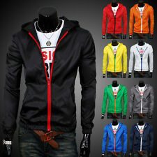 Summer Hot Mens Fashion Solid Zip Up Slim Fit Jacket Zipper Casual Hoodies