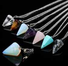 Healing Chakra Natural Crystal Gemstone Cone Reiki Bead Pendant Chain Necklace