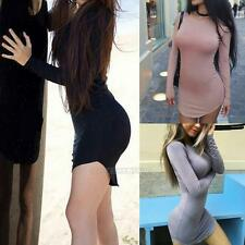 Sexy Autumn Winter Long Sleeve Tight Slim Skirt Womens Bodycon Mini Wrap Dress