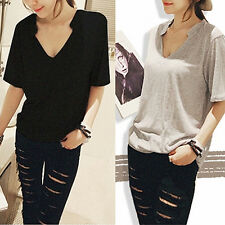 Women's Summer Korean Style V-Neck Short Sleeve Solid Loose T-Shirt Top Glorious