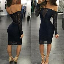 Sexy Lady Off Shoulder Silm Lace Bodycon Evening Party Cocktail Short Mini Dress