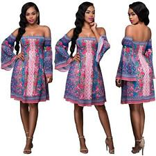 Sexy Women's Off Shoulder Printed Evening Party Cocktail Tunic Short Mini Dress