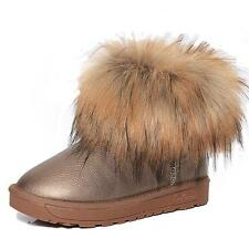 New Womens Faux Fur Snow Boots Warm Flat Winter Ankle Boots Size Sweet Fashion