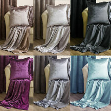 "Crushed Velvet New Sofa Throw 150x200cm & Co Ordinating Cushion Cover 45cm (18"")"