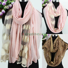Embroidery Floral Mesh Sheer/Flower Sequin Stitching Long Scarf/Infinity Scarf