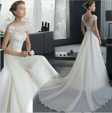 Custom A line bride gown lace wedding  dresses  white  ivory