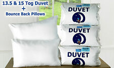 Winter Duvet And Luxury Bounce Back Pillows 13.5 Tog Or 15 Tog FREE UK Delivery