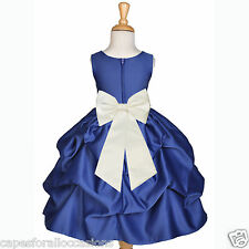 NAVY BLUE FLOWER GIRL DRESS WEDDING BRIDESMAID PICK UP 6M 12M 2 3T 4 5T 6 7 8 10