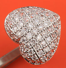 Fabulous Heart White Topaz Gemstones Silver Party Rings US# Size 6 7 8 9 T0861