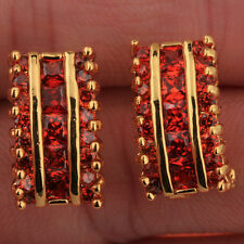 Elegant Party Jewelry Gemstones Red Garnet 18k Gold Filled Studs Earrings T0862