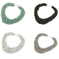 Womens Multicolor Bohemian Handmade Braided Knot Beads Collar Necklace GR