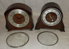 2 x OAK Mantel CLOCKS For RESTORATION Perivale ANVIL & SMITHS With CHIME