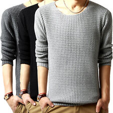 Mens Casual Slim Fit Crew Neck Knitted Cardigan Pullover Jumper Sweater Tops