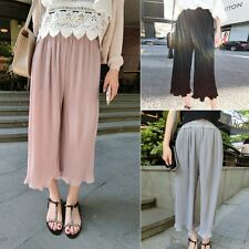 Womens Pleated Pant Chiffon Trousers Loose Cropped Flared Pants Plus Size Casual