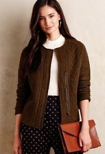 ANTHROPOLOGIE Knitted & Knotted Moss Boiled Wool Cableknit Blazer NwT M L