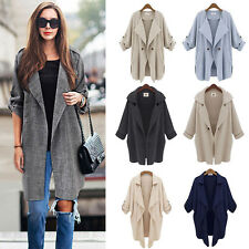 Autumn Womens Waterfall Outwear Cardigan Long Top Trench Duster Coat Cool Jacket