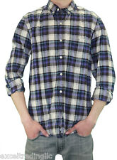 STEVEN ALAN Purple/Blk/White Plaid Single Needle Outside Pocket Shirt NEW $188