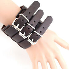 Fashion Rock Punk Belt Men PU Leather Bracelet Wristband Cuff Bangle Adjustment