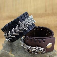 Fashion Men's Cool Punk Leather Dragon Cuff Bracelet Bangle Punk Biker Gothic