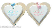 Babys 1st Christmas Shabby Chic Wooden Hanging Double Heart Plaque Sign