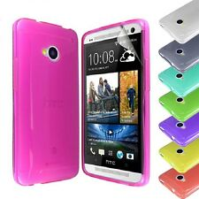 New Transparent Glossy Silicone TPU Gel Case Cover FOR HTC ONE M7 + Screen Guard