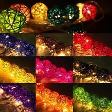 Wicker Rattan Ball LED String Fairy Lights Lanterns Wedding Decor Warm White