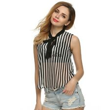 Women Ladies Striped Tank Top Vest Chiffon Sleeveless Blouse T-Shirt Tops TXWD