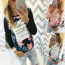Women Ladies Casual Floral Printed Shirt Long Sleeve Cotton Blouse Tops T-shirts