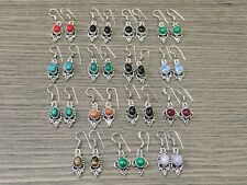 WHOLESALE LOT 15  pcs TURQUOISE  & MULTI-STONE.925 SILVER PLATED EARRING 74 GMS