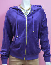 Juicy Couture Velour Relaxed Jacket Tracksuit Hoodie Medium M Purple Violet