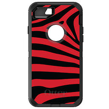 CUSTOM OtterBox Defender for iPhone 6 6S 7 PLUS Black Red Zebra Skin Stripes