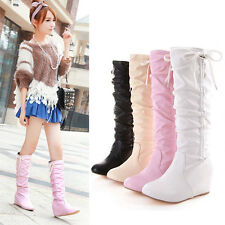 Womens Knee High Boots Winter Slouch Tall Faux Suede Ladies Cowboy Western Shoes