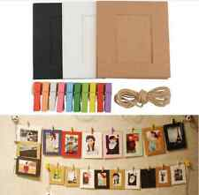 10x Kraft Paper Photo Flim Frame DIY Wall Picture Hang Album Stand Clips