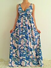 Women Sleeveless Boho Floaty Summer Floral Maxi Long Casual Dress Size 6-8-10-12