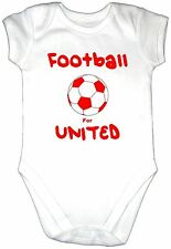 BORN TO PLAY FOOTBALL FOR UNITED Baby Grow Gro Clothes Ball Bodysuit Vest Top