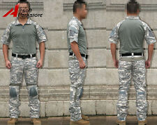 EMERSON Tactical Military Airsoft Combat Uniform Shirt Pants Set w/Knee Pads ACU