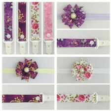 dummy clip pacifier chain binky headband hair girls flower pink baby bow gift